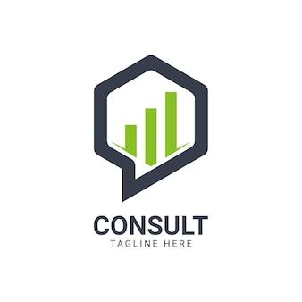 Modello di progettazione del logo moderno hexagon business consulting agency. semplice concetto di logo di consulenza digitale