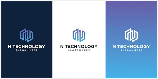 Logo moderno della lettera n del monogramma esagonale, design emblema con lussuosi colori sfumati.