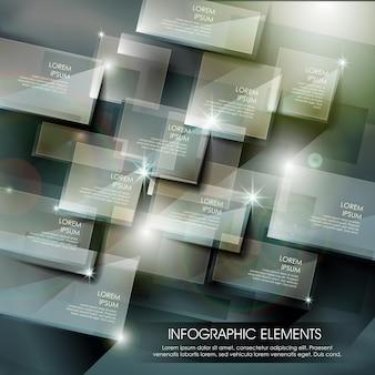 Modello moderno di elementi infografici con lastra di vetro lucida hi-tech