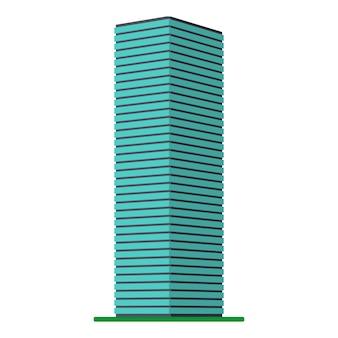 Un moderno ed alto edificio su uno sfondo bianco. vista dell'edificio dal basso. illustrazione vettoriale isometrica.