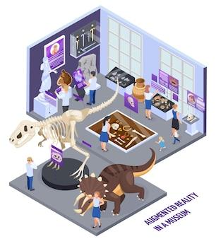 La sala di realtà aumentata del museo storico moderno con le informazioni sulla ricostruzione dei dinosauri mostra la composizione isometrica dei visitatori