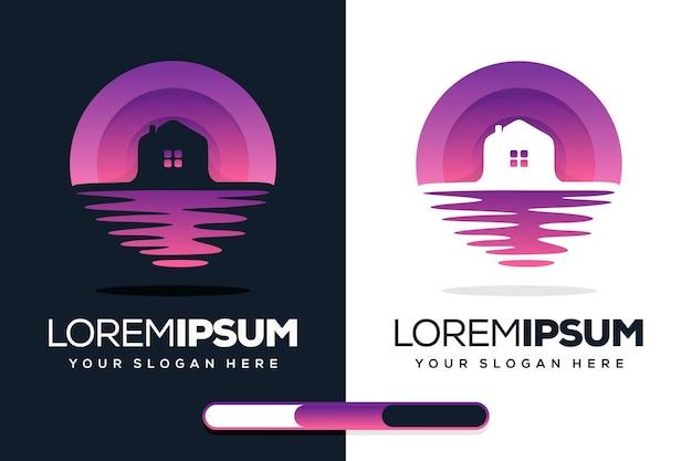 Design moderno del logo per la casa e la spiaggia