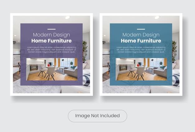 Set di modelli di banner post social media mobili per la casa moderna