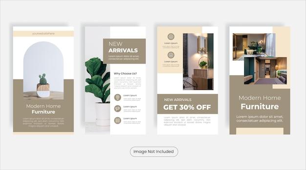 Set di banner modello di storie di social media mobili per la casa moderna