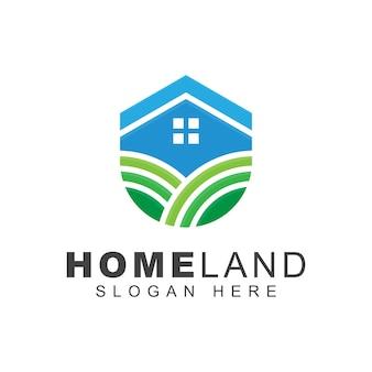 Logo di agricoltura moderna terra casa, modello di progettazione di logo di fattoria
