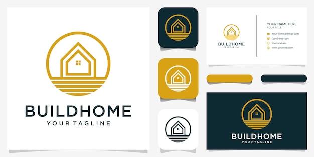 Design moderno del logo per la casa per la costruzione di proprietà immobiliari per la casa vettore premium