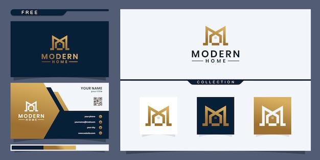 Modello di logo immobiliare casa moderna. design del logo e biglietto da visita