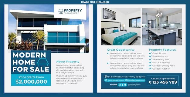 Promozione casa moderna in vendita feed instagram in stile design piatto
