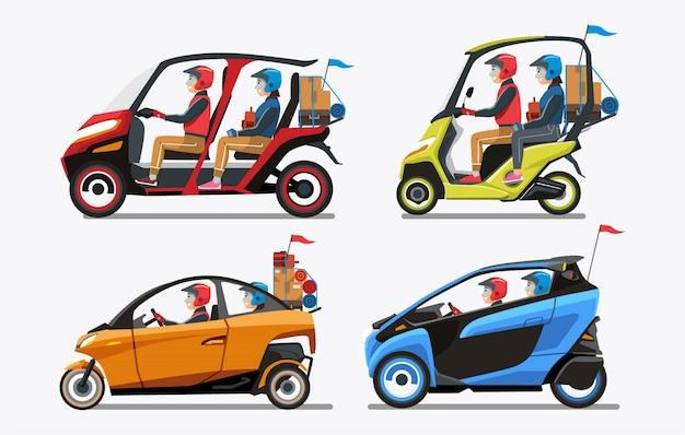 Persone moderne di ritorno a casa con veicoli rossi