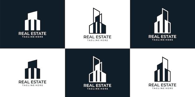 Collezione di design del logo della costruzione di immobili moderni della città natale