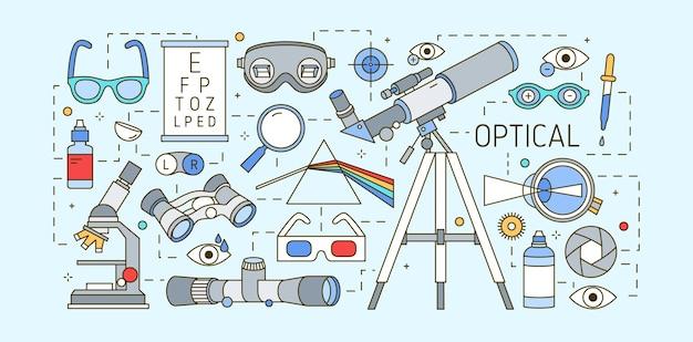 Moderno modello di banner web orizzontale con dispositivi ottici, di correzione della vista, strumenti oftalmici e di acuità visiva su sfondo chiaro. illustrazione vettoriale colorato in stile art line alla moda