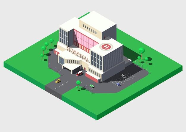 Moderno edificio ospedaliero con ambulanza, illustrazione isometrica.