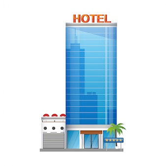 La costruzione moderna dell'hotel, grattacieli si eleva con l'icona delle palme isolata su fondo bianco, illustrazione.