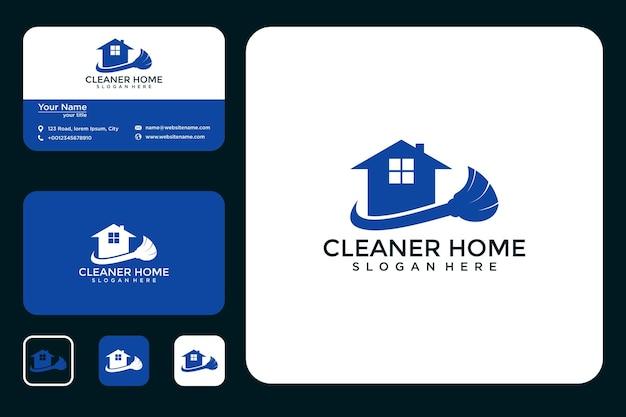 Design del logo e biglietto da visita moderno per la pulizia della casa