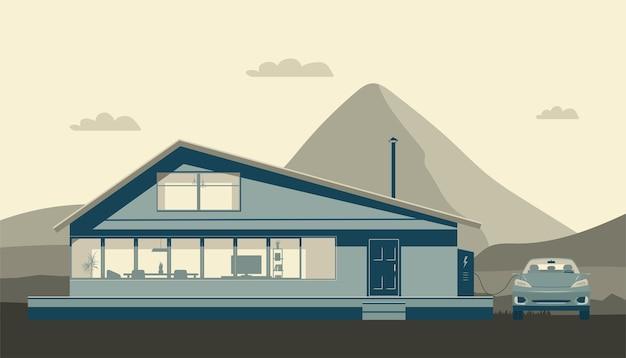 Casa moderna e auto elettrica in carica sullo sfondo di un paesaggio astratto.