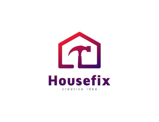 Modello moderno di concetto di design del logo della casa e del martello