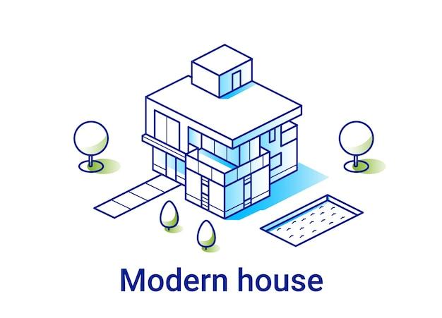 Illustrazione di casa moderna in stile isometrico lineare. concetto di bene immobile. linea d'arte minimale.