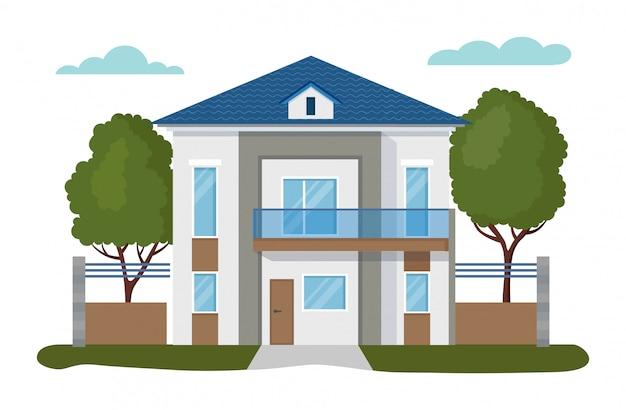 Illustrazioni moderne della casa, appartamento domestico piano del fumetto, esterno della facciata delle icone stabilite dell'edificio residenziale isolate su bianco