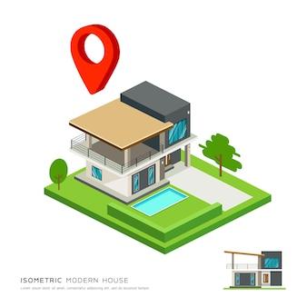 Isometrica casa moderna con mappa punto rosso