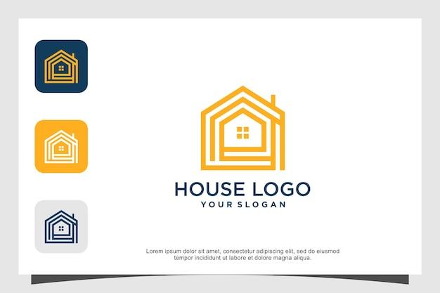 Concetto minimalista di design del logo della casa moderna vettore premium parte 3