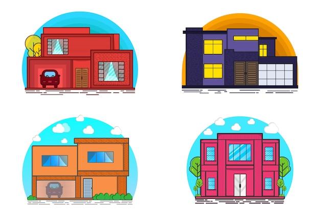 Casa moderna e carta di parcheggio senza set di illustrazione piatta all'aperto per persone