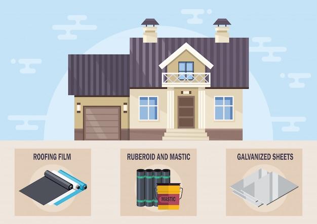 Vettore piano dei materiali moderni del sistema di tetto della camera