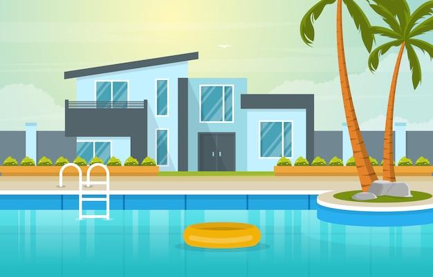 Esterno moderno della villa della casa con la piscina all'illustrazione del cortile