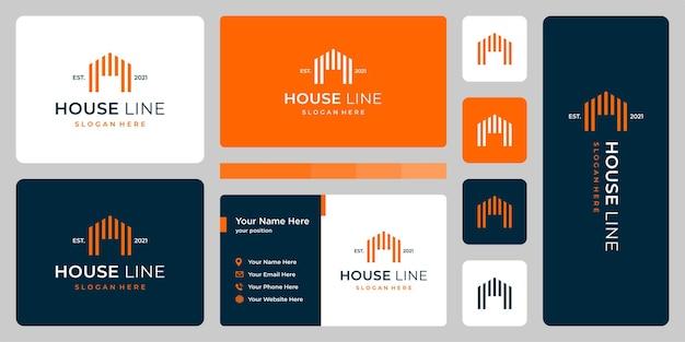 Casa moderna con modello di linea e design di biglietti da visita.