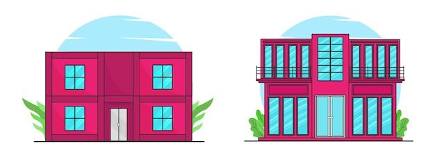 Casa moderna senza persone illustrazione piatta all'aperto