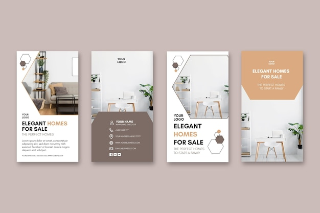 Modello di storie di instagram di case moderne