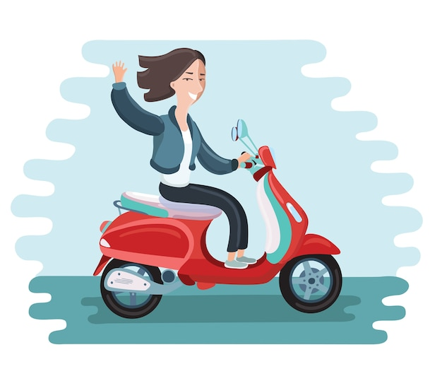 Icona moderna sul personaggio di giovane donna hipster in sella a uno scooter retrò veloce con occhiali da sole