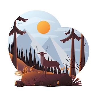 Illustrazione moderna dei cervi nella foresta
