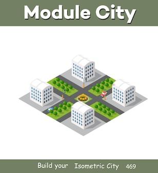 Illustrazione moderna per il gioco di design e lo sfondo di forma aziendale città isometrica del modulo dall'architettura vettoriale di edificio urbano.