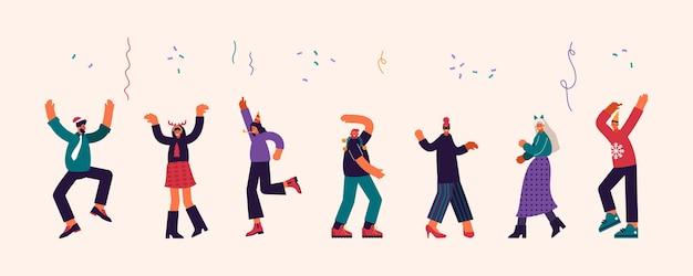 Illustrazione moderna di un gruppo di uomini e donne contemporanei che ballano energicamente sotto i coriandoli che cadono mentre si celebra il natale insieme