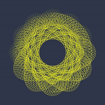 Illustrazione moderna con una forma a cerchio deformato delle particelle