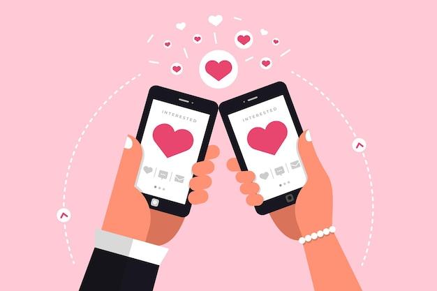 Illustrazioni moderne concpt incontri applicazione online tramite chat mobile della stretta della mano