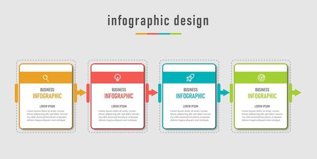 Modello di business grafico con informazioni moderne e visualizzazione dei dati con 4 opzioni.