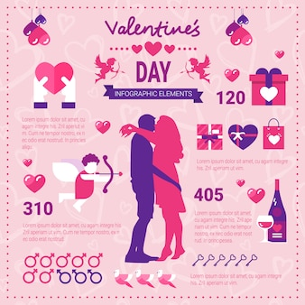 Insegna moderna di infographic per il giorno di biglietti di s. valentino, insieme delle icone degli elementi del modello sopra fondo rosa con lo spazio della copia