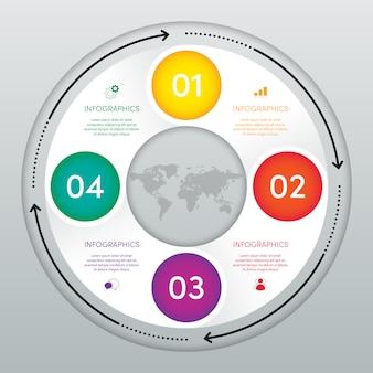 Modello di business moderno infografica e visualizzazione dei dati con 4 opzioni.