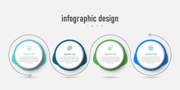 Modello di business di progettazione infografica moderna e con flusso di lavoro numero di opzione quattro passaggi