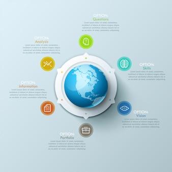 Layout design moderno infografica con il pianeta terra al centro e frecce che puntano a pittogrammi e caselle di testo.