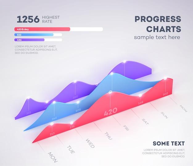 Elementi di infografica moderni su sfondo chiaro. grafico commerciale.