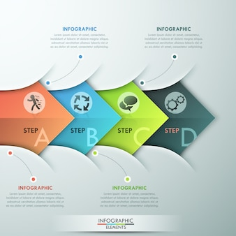Insegna moderna di opzioni di infographics con 4 frecce variopinte