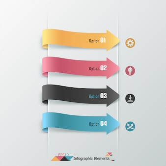 Insegna moderna di opzioni di infographics con le frecce