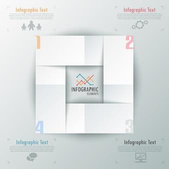 Modello di carta moderna opzioni infografica