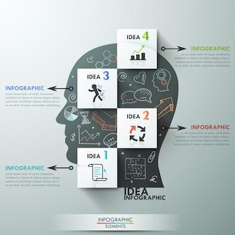 Modello di opzioni infografica moderna per 4 opzioni