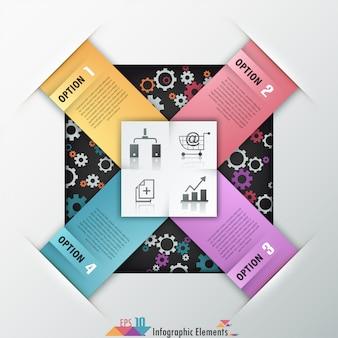Modello di carta moderna infografica
