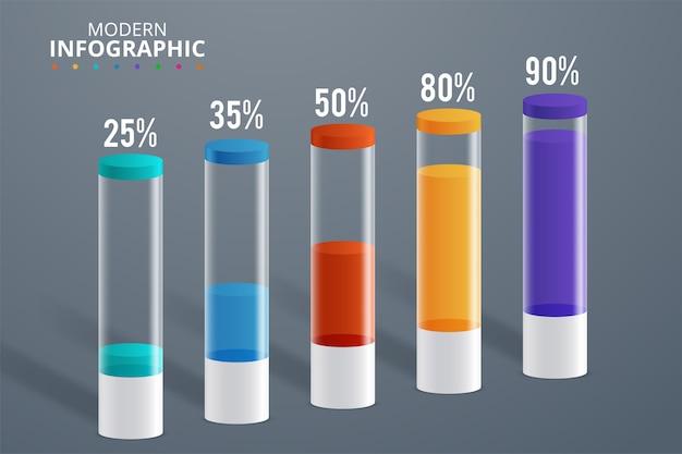 Illustrazione moderna di vettore del cilindro del modello di infographics