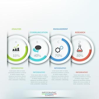 Modello di infografica moderno con 4 cerchi di carta