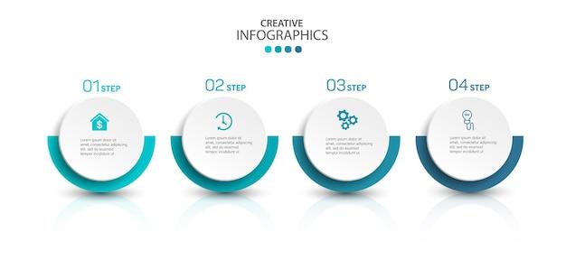Modello di infographics moderno con passaggi
